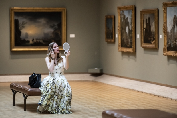 "Soprano Jeni Houser applies makeup in between the filming of scenes for an ""Opera Postcard from Madison,"" on Monday, March 22, 2021, inside the Chazen Museum of Art in Madison, Wis. Angela Major/WPR"
