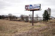 A billboard on the side of Highway 26 in Rock County encourages people to get the COVID-19 vaccine. Angela Major/WPR