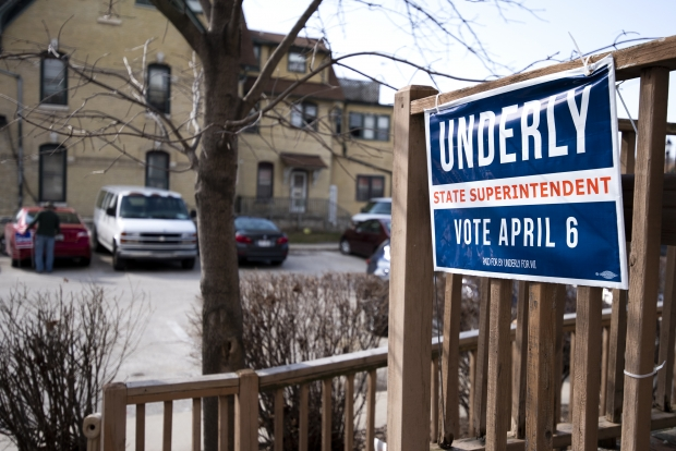 A sign for state superintendent candidate Jill Underly is on display Tuesday, March 30, 2021, at the Waukesha County Democratic Party Office. Angela Major/WPR