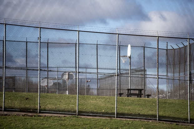 Basketball goals and picnic tables are located behind the living units at Lincoln Hills youth prison Thursday, April 15, 2021, in Irma, Wis. Angela Major/WPR