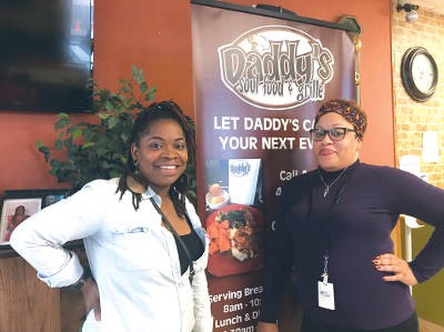 Symphony Swan-Zawadi (left) and Bridget Robinson pose at Daddy's Soul Food & Grille, 754 N 27th St., one of the Black Restaurant Week 2019 participants. Photo courtesy of BlankSpace MKE/NNS.