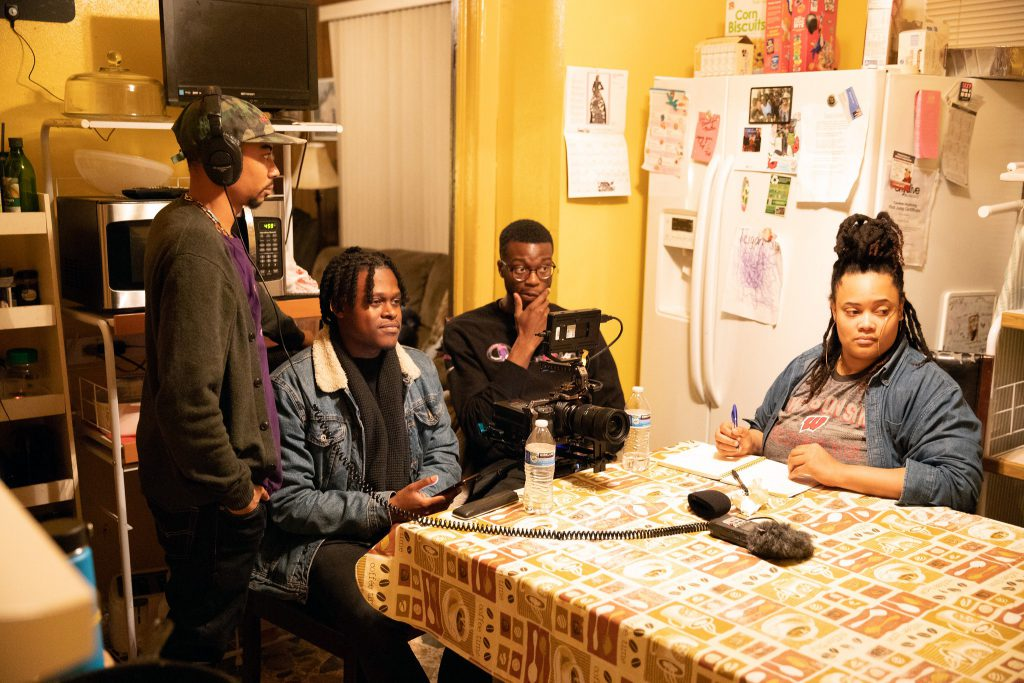 """Marquise Mays (second from left) worked on """"The Heartland"""" with Gregory Thomas II (left), Charles Fatunbsi and Breanna Taylor. Photo provided by Marquise Mays/NNS."""