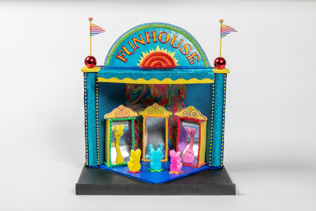 Susan Buhler, Racine. Funhouse. Paint, carboard, paper, metal, and found objects. Third Peep--Adult Division Photo by Jon Bolton/Racine Art Museum.