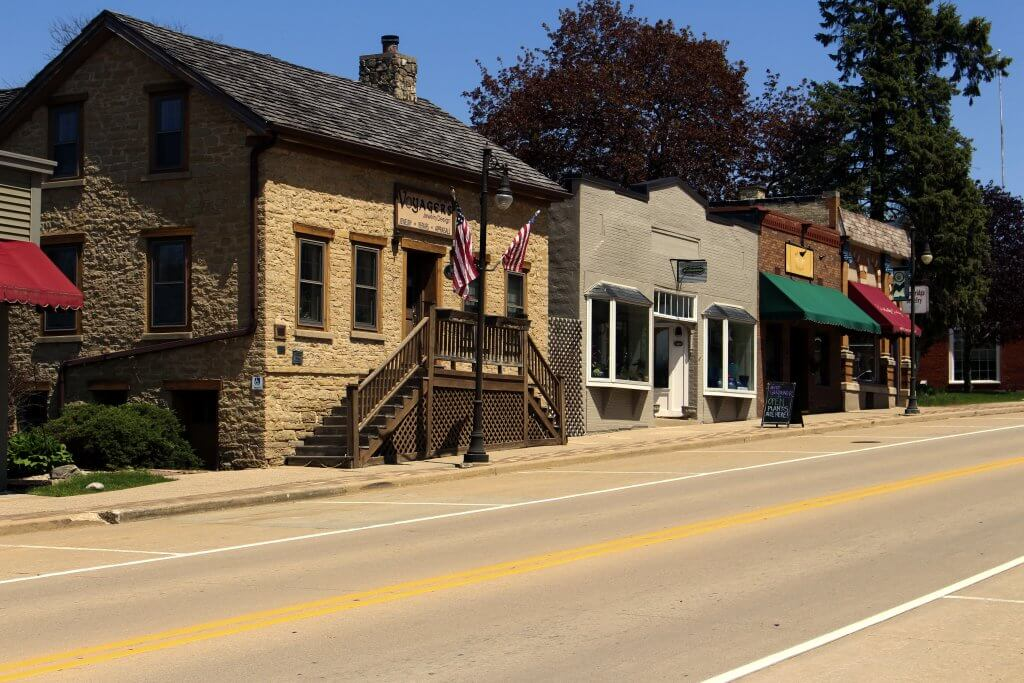 Main Street in the Wisconsin community of Cambridge. Photo by Henry Redman/Wisconsin Examiner.