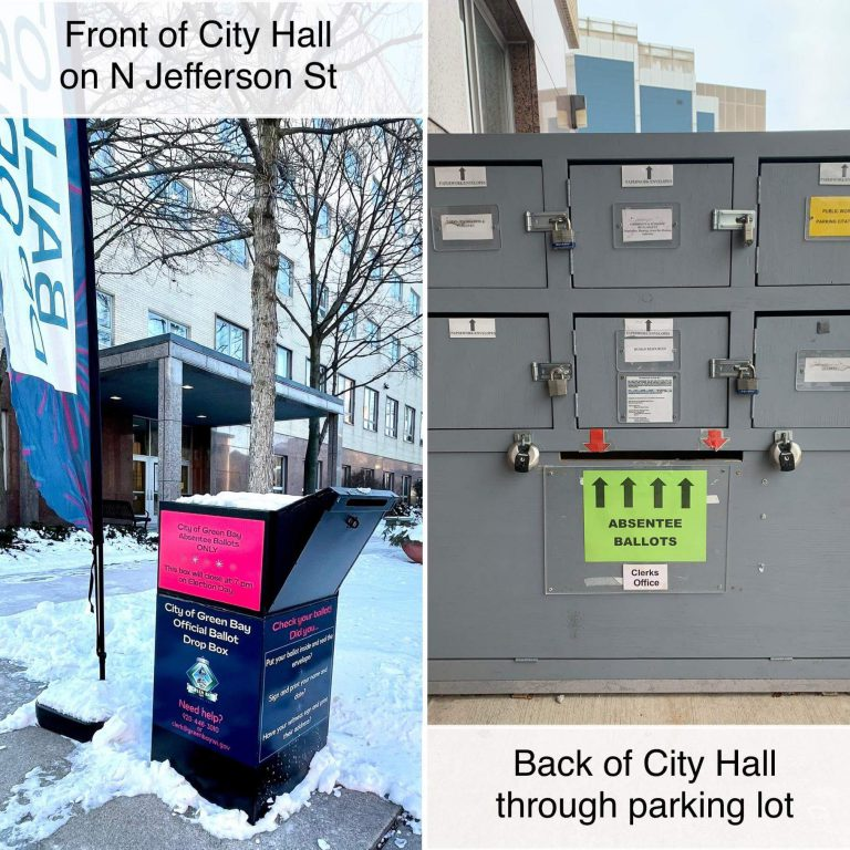 Green Bay absentee ballot boxes. Photo from city's Facebook page.