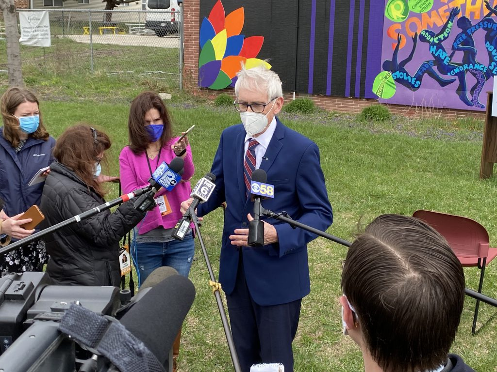 Gov. Tony Evers speaks at a press conference April 13th, 2021. Photo by Graham Kilmer.