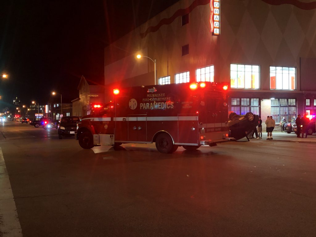 A Milwaukee Fire Department ambulance at a rollover crash on S. 1st St. Photo by Jeramey Jannene.