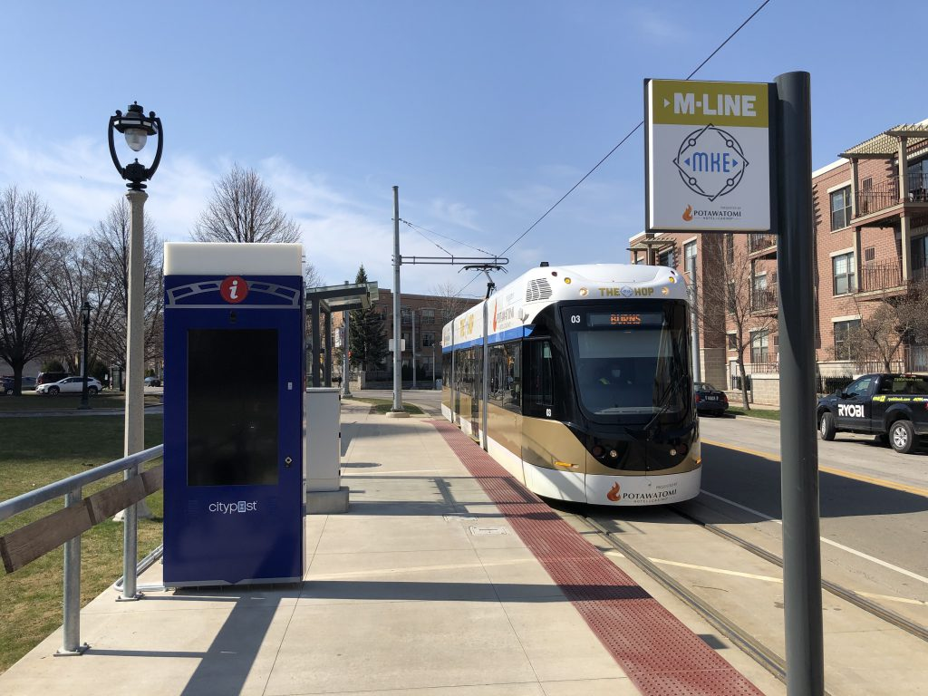 CityPost smart kiosk at the Burns Commons streetcar station. Photo taken April 3rd, 2021 by Dave Reid.