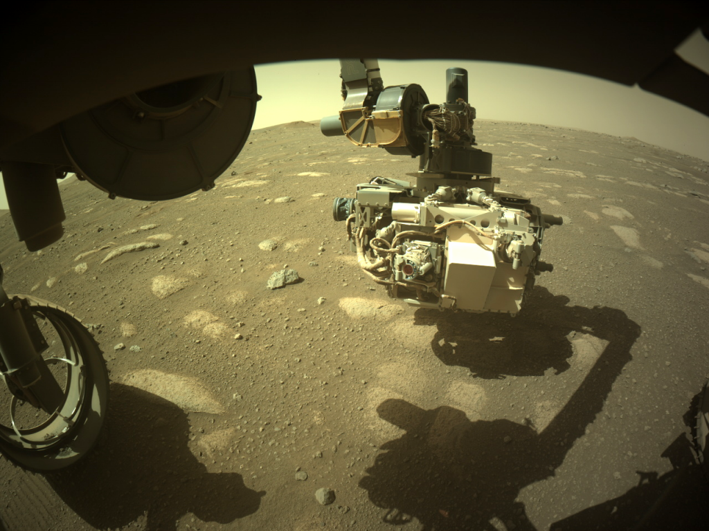 NASA's Mars Perseverance rover acquired this image of the area in front of it using its onboard Front Left Hazard Avoidance Camera A on Mar. 31, 2021 (Sol 39) at the local mean solar time of 14:33:31. Photo by NASA/JPL-Caltech.