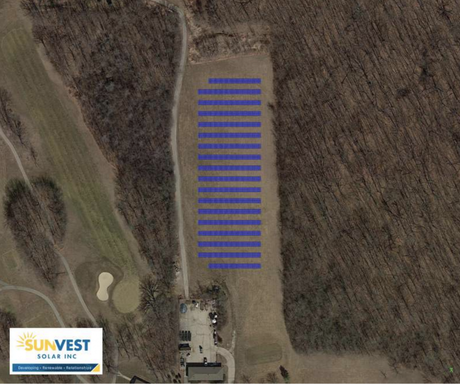 Layout of the planned solar array at Oakwood Park Golf Course. Image from SunVest Solar/Milwaukee County,.