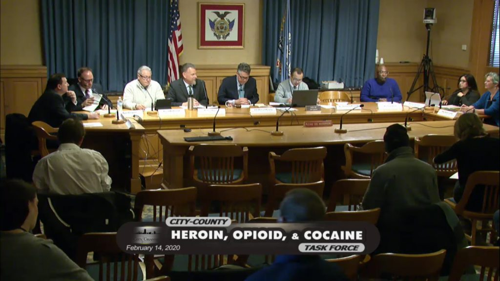 Feb. 14, 2020, was the last time members of the City-County Heroin, Opioid and Cocaine Task Force met. The failure of the task force to meet comes at a time when Milwaukee County faces an ongoing crisis related to the rise of fentanyl and a surge in drug overdose deaths. Screenshot from City-County Heroin, Opioid and Cocaine Task Force meeting.