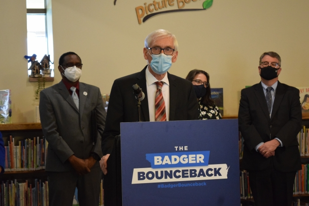 Gov. Tony Evers called on lawmakers to take action on a bill to provide funding and state support for communities dealing with PFAS contamination during a visit to the F.J. Robers Library in the Town of Campbell on Wednesday, April 21, 2021. Hope Kirwan/WPR