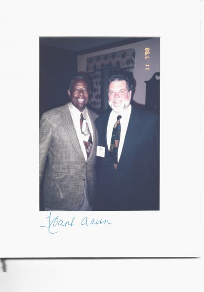 William A. Durkin, Jr. and Hank Aaron. Photo courtesy of Katie Pritchard.
