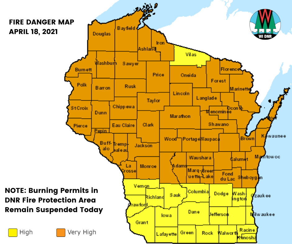 Fire Danger Very High And High Across Wisconsin