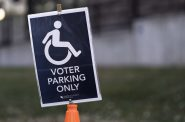 Accessible Voter Parking Only sign in St Paul, Minnesota. File photo by Lorie Shaull. (CC BY-SA 2.0). https://creativecommons.org/licenses/by-sa/2.0/legalcode