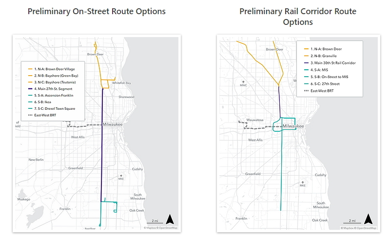 Preliminary on-street route options and preliminary rail corridor route options. Maps from the project website.