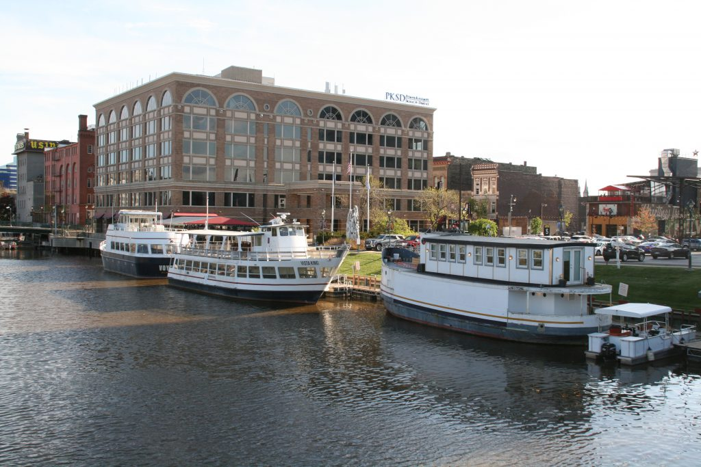 Milwaukee Boat Line vessels at their new dock on the Milwaukee River. Photo by Jeramey Jannene.