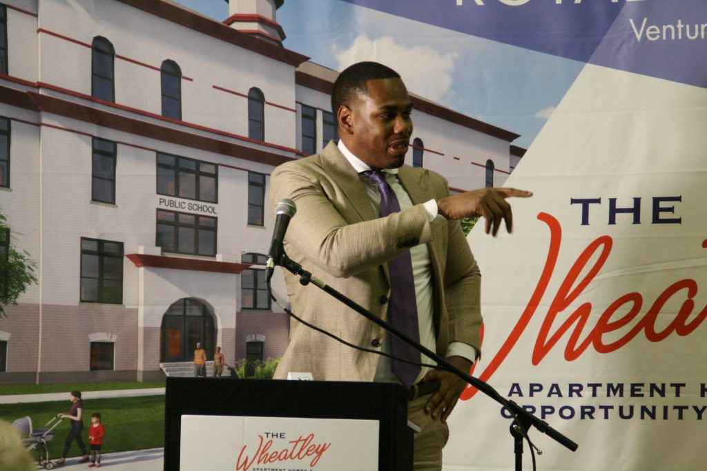 Kevin Newell thanks his family at the groundbreaking for The Wheatley. Photo by Jeramey Jannene.