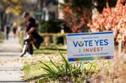 A yard sign in front of a home in Madison encourages residents to vote for a referendum Thursday, Nov. 5, 2020. Angela Major/WPR