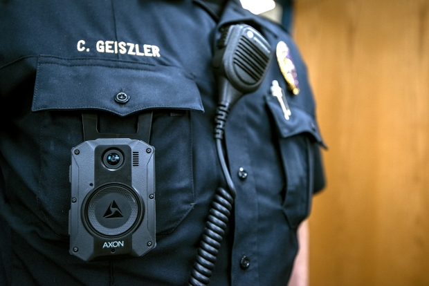A Wauwatosa police officer wears a body camera while working Tuesday, April 20, 2021. Angela Major/WPR