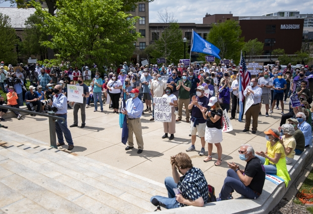 A crowd gathers at the Rally for Fair Maps on Monday, May 17, 2021, in Madison, Wis. Angela Major/WPR