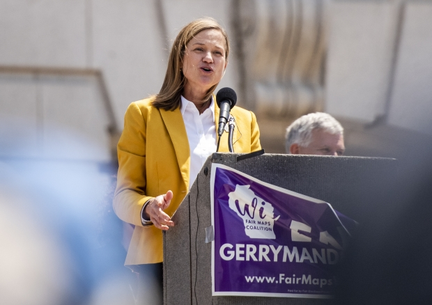 State Rep. Deb Andraca speaks at the Rally for Fair Maps on Monday, May 17, 2021, in Madison, Wis. Angela Major/WPR