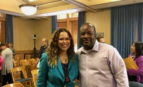 """Moore poses with then-commissioner Dr. Jeanette Kowalik, one of five health commissioners he served under. """"Reggie hustled to get funding where it needed to be,"""" Kowalik says. Photo provided by Reggie Moore/NNS."""