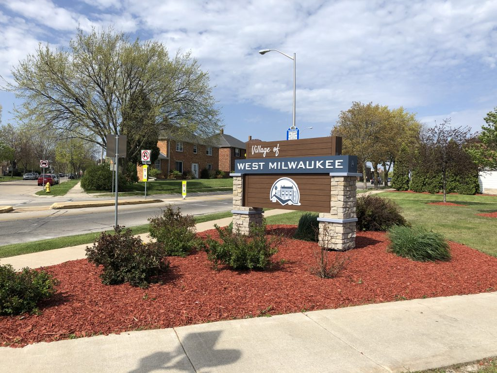 Village of West Milwaukee sign. Photo taken May 1st, 2021 by Dave Reid.