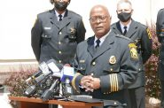 Milwaukee County Sheriff Earnell Lucas speaks at today's press conference. Photo taken May 17th, 2021 by Graham Kilmer.