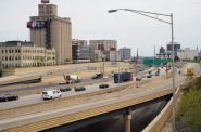 Interstate 43 freeway along the west side of downtown Milwaukee. Photo by Jeramey Jannene.