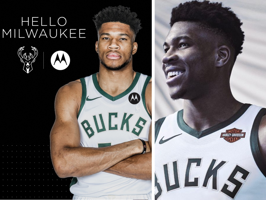 Giannis Antetokounmpo wearing Motorola patch jersey and Harley-Davidson patch jersey. Images from Bucks.