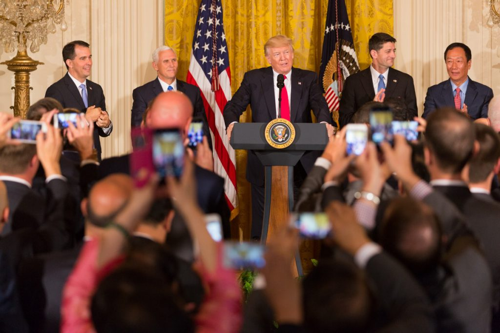 """In 2017, the big players in the """"Cheesehead Revolution"""" gathered at the Trump White House to celebrate the state landing the Foxconn deal. Photo via White House archives."""