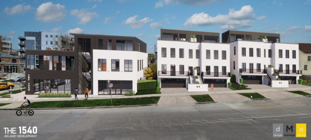 The 1540 bureau   gathering  and 4  townhomes signifier  The 1500s development. Rendering by Design Manage Advise.