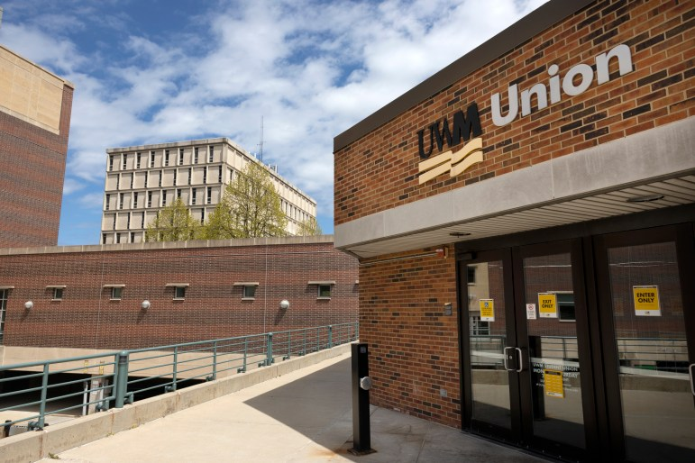 The student union on the University Wisconsin-Milwaukee campus is seen on May 10. Increasing financial aid could combat loan disparities, says Tim Opgenorth, UW-Milwaukee's director of financial aid, but the university lacks funding to cover the need. (Coburn Dukehart/Wisconsin Watch)