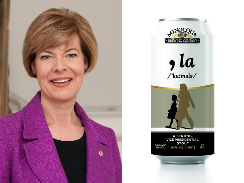 "U.S. Sen. Tammy Baldwin and Minocqua Brewing's "",la - A Vice Presidential Stout""."