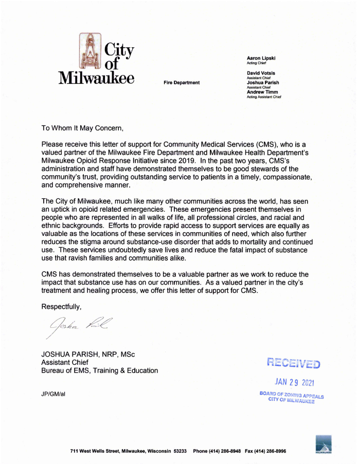 Letter of support for Community Medical Services.