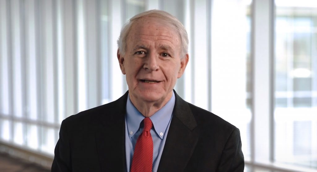 """Mayor Tom Barrett in """"Reflections on a Historic Year"""" speech. Image from video."""