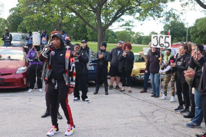 The People's Revolution's Day 365 anniversary protest in Milwaukee. Photo by Isiah Holmes/Wisconsin Examiner.