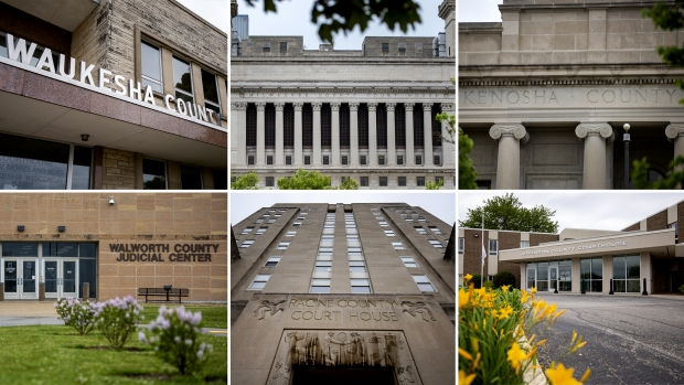 Courthouses from Wisconsin counties where district attorneys ran uncontested. Angela Major/WPR