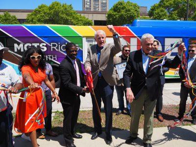 Local Officials Unveil Pride Bus, Streetcar
