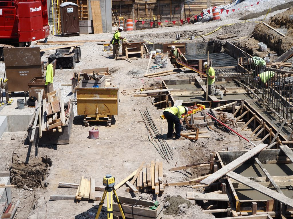 Construction workers at 1530 W. Wisconsin Ave. Photo by Jeramey Jannene.