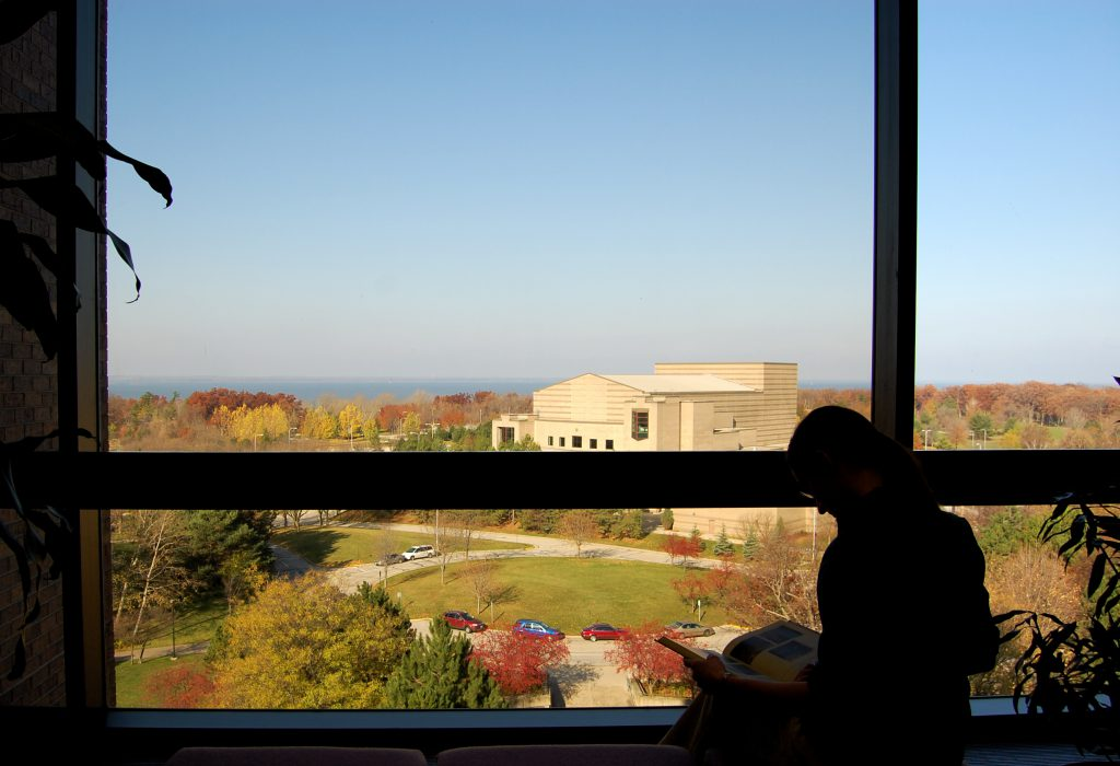A student studying at the Cofrin Library on UW-Green Bay's campus. (CC BY 2.0). https://creativecommons.org/licenses/by/2.0/
