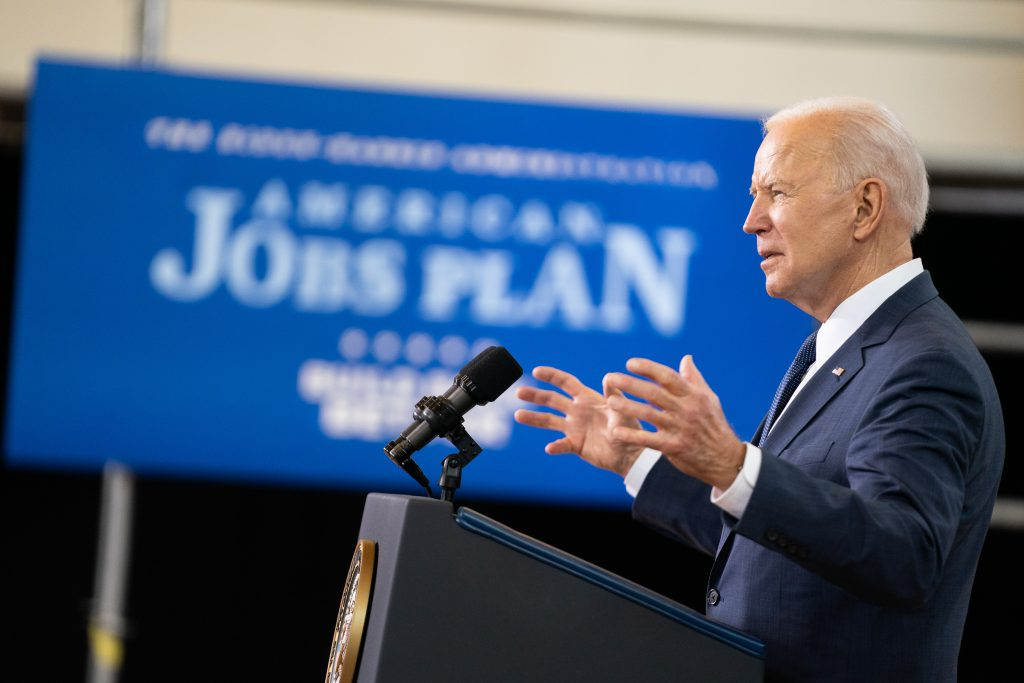 President Joe Biden delivers remarks on his economic vision Wednesday, March 31, 2021, at the Carpenters Pittsburg Training Center in Pittsburgh. Photo by Adam Schultz/Official White House Photo.