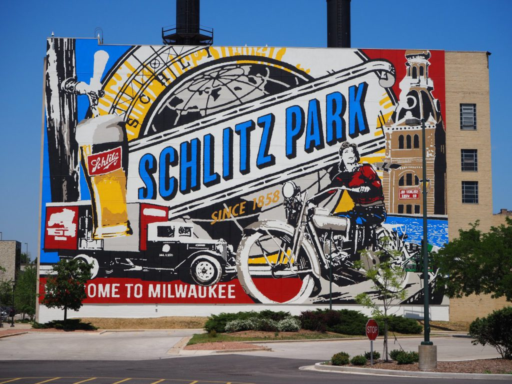 Mural on the former Schlitz Powerhouse. Photo by Angeline Terry.