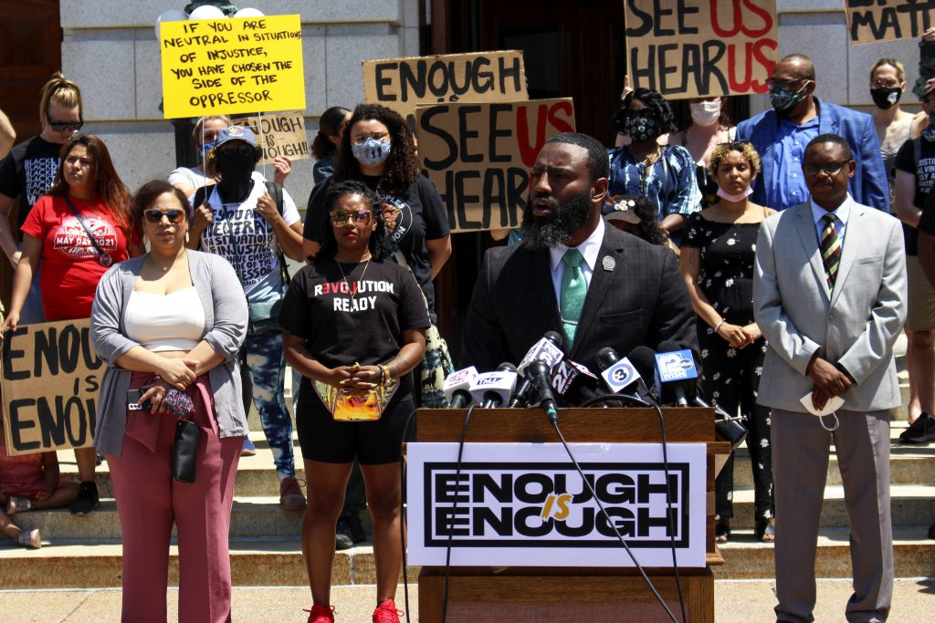 Rep. David Bowen speaks at a press conference introducing Democratic bills on police reform. Photo by Henry Redman/Wisconsin Examiner.