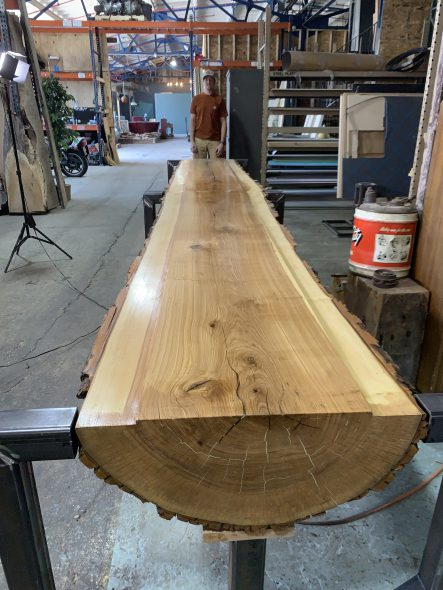 The table prior to being installed. Photo courtesy of Central Standard Craft Distillery.