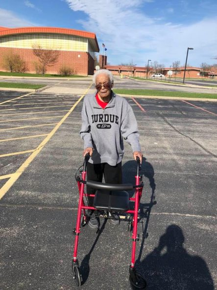 Frieda Parker Jefferson, wearing her Purdue jersey while taking a walk on the grounds of Homestead High School in Mequon. Photo courtesy of Ralph Jefferson.