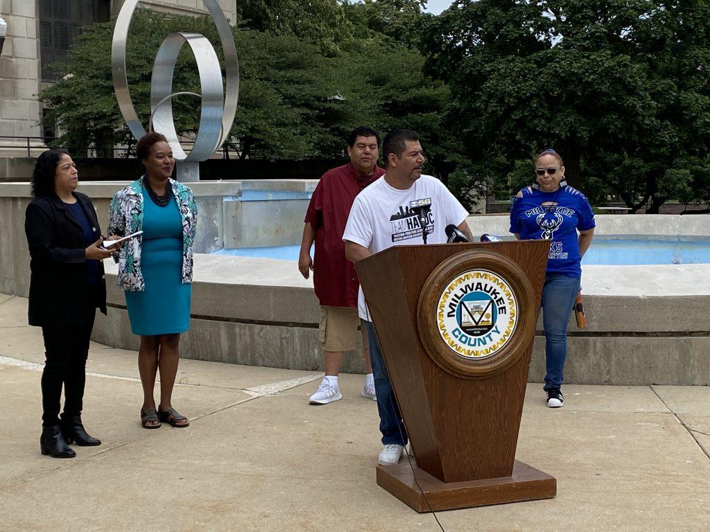 Rafael Mercado speaking at today's press conference. Photo by Graham Kilmer.