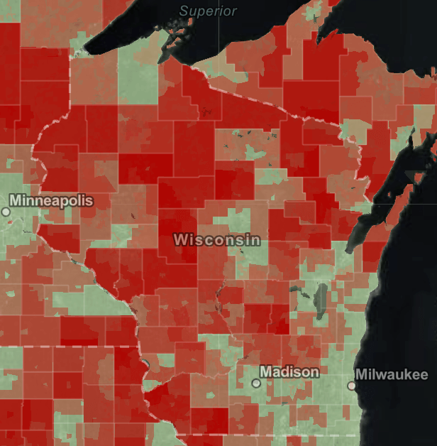 Wisconsin's broadband internet disparities. Screenshot from the United States Department of Commerce, National Telecommunications and Information Administration/Wisconsin examiner.