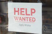 Help Wanted sign, Madison, Wisconsin, June 1, 2021. Photo by Erik Gunn/Wisconsin Examiner.